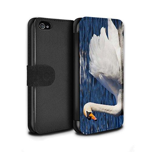 Stuff4 Coque/Etui/Housse Cuir PU Case/Cover pour Apple iPhone 4/4S / Bateau Ancré Design / Côte de la Colombie Collection Cygne