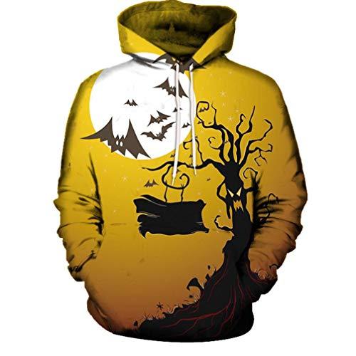 Kanpola Halloween Kostüm Kapuzenpullover Herren Damen 3D Digital Druck Sweatshirt mit Taschen Schlank Pullover Langarm Shirt