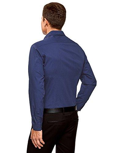 oodji Ultra Uomo Camicia in Cotone a Stampa Fitta Blu (7579G)
