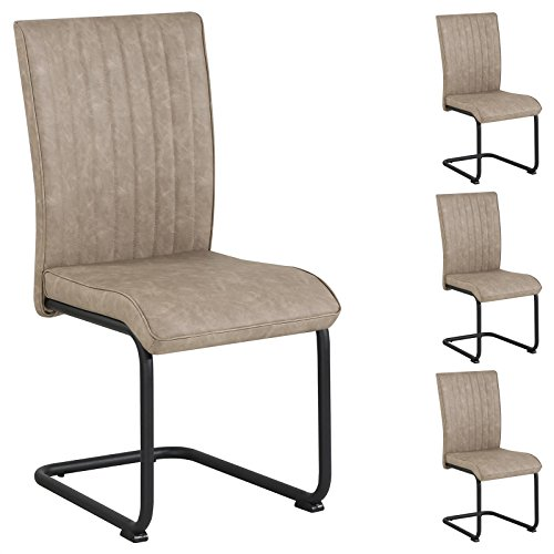 CARO-Möbel 4er Set Esszimmerstuhl Küchenstuhl Schwingstuhl Cruz, aus Wildlederimitat in beige Hellbraun, Metallgestell mit Strukturlack in schwarz