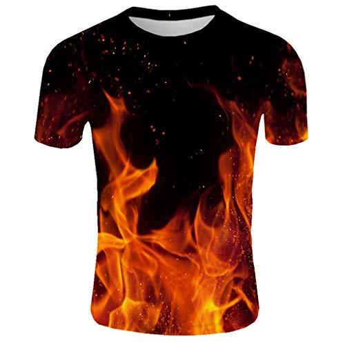 SuperSU-Herren tops ►▷ Sommer Tops für Männer Kurzarm Lässiges Mode T-Shirt 3D Flamme Print Muster Tops Casual Bequeme Bluse Täglich Persönlichkeit Oberteil Pulli Dating Sport