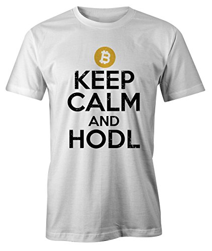 Keep Calm and Hodl Crypto Trader Miner Bitcoin Cryptocurrency BTC Ltc Digital Currency T-Shirt Camiseta Hombres Blanco X-Large