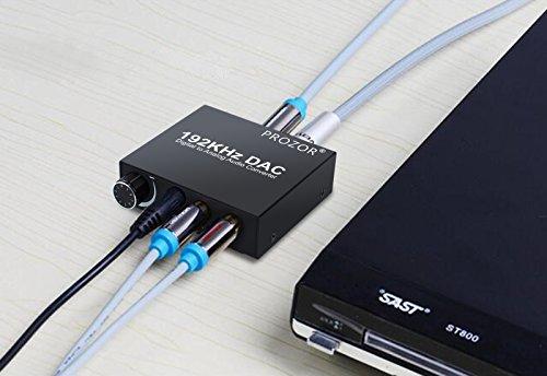 PROZOR 192KHz DAC Konverter Wandler Digital SPDIF Optisch Caaxial Toslink zu Analog Stereo Audio L/R RCA 3,5mm Anschluss Konverter Adapter einstellbare Lautstärke mit USB-Netzkabel und 4.0 OD optische Kabel Aluminiumlegierung Audio Wandler für TV Box HDTV Blue-ray DVD PS3 Xbox PS4 Spielekonsolen Heimkino System AV Verstärker - 3
