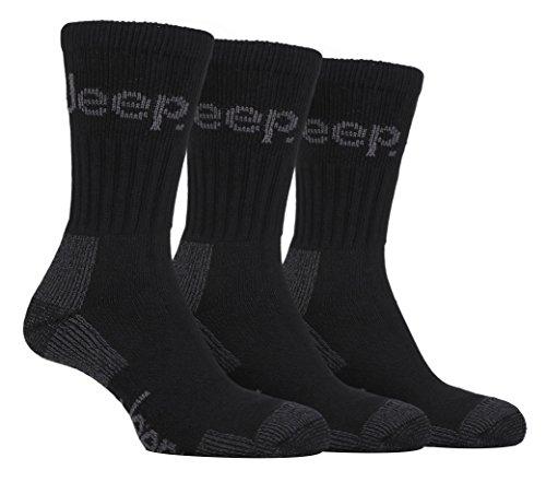 Jeep Terrain - Socken für Spaziergänge und Wanderungen, (3 Paar) 39-45 EUR, Schwartz Terrain Stiefel
