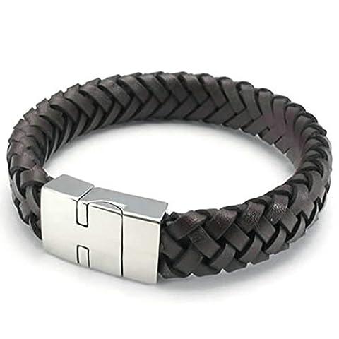 AMDXD Bijoux Acier Inoxydable Bracelets de Liaison pour Hommes Tisser Noir Argent 8.5 Pouce
