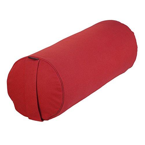 Yoga- und Pilates-Bolster BASIC 65 x Ø 23 cm, Yoga Hilfsmittel mit Dinkel-Hülsen gefüllt, verfügbar in 7 Farben, Dinkelfüllung, Yoga Rolle (rot)