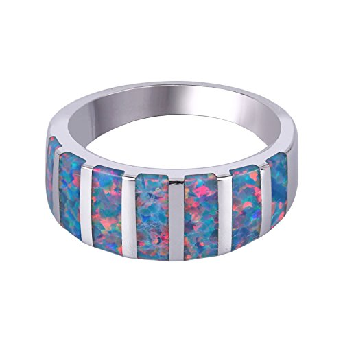 C QUAN CHI Multi Streifen Behandelt Mischen Farbe Opal Ring Glatt 925 Sterling Silber Ringe, Größe 57 (18.1)
