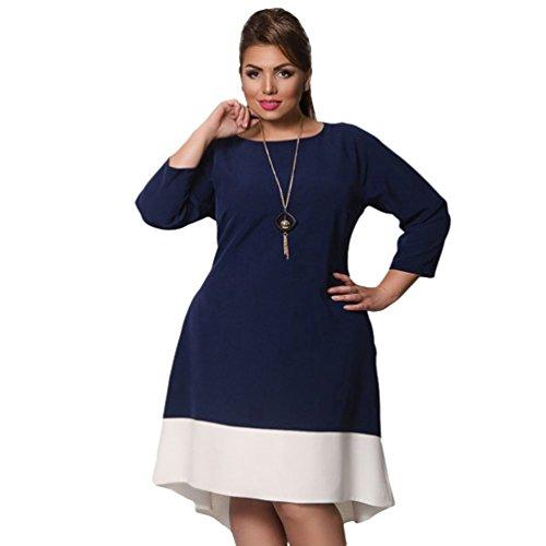 Linnuo vestito taglie forti abiti abito per party sera vestiti vestitini hem irregolare donna (blu scuro,cn xl)
