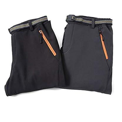 LHHMZ Men's Soft Shell Fleece Lined Hiking Trousers Outdoor Waterproof Breathable Thicken Winter Warm Walking Climbing Pants 6