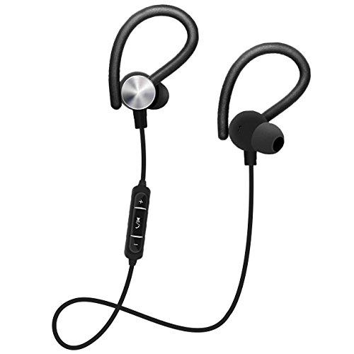 Nicksea In Ear Bluetooth Kopfhörer 4.1 Sport Headset Wireless Ohrhörer Headphones Verbinden mit zwei Geräten mit Mikrofon für iOS und Android Geräte usw (Schwarz) (Bluetooth Für Headset Ohren Kleine)