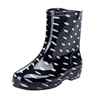 Frestepvie Womens Wellies Rain Boots Non-Slip Waterproof Polka Dot Shoes Mid-Calf Women