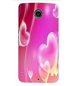 ColourCraft Love Hearts Design Back Case Cover for MOTOROLA GOOGLE NEXUS 6