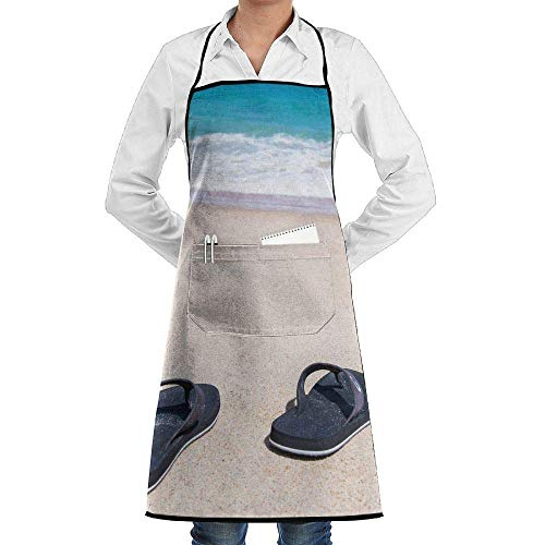 Hipiyoled Grill Aprons Kitchen Chef Bib Flip Flops On The Beach Extra Long Adjustable Ties for Cooking,BBQ,Baking - Baumwolle Bestickt Flip-flops