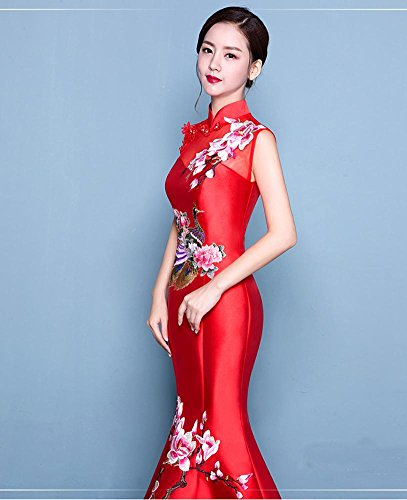 ... Beauty-Emily Meerjungfrau Stickerei Lace-Up Dicke Satin Cheongsam Kleid  Rot ...