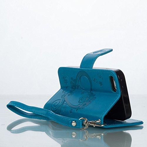 Qiaogle Téléphone Coque - PU Cuir rabat Wallet Housse Case pour Apple iPhone 6 Plus / iPhone 6S Plus (5.5 Pouce) - RX01 / Violet Love Heart Bouquet RX03 / Bleu Love Heart Bouquet