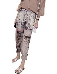 Pantalones Mujer Harén Cintura Alta Gasa Impreso Pololos Delgado Playa  Verano Largo Casual Pantalón Resistente al 5370be1ccb59