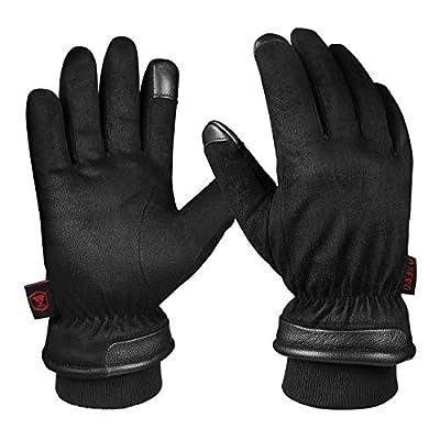OZERO Winterhandschuhe,Wasserdicht Thermo Lederhandschuhe mit Touchscreen-Fingerspitzen für Ski,Radfahren,Lauf und Arbeit,für Herren von OZERO - Outdoor Shop