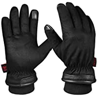 OZERO Mens Gloves,Touch Screen Waterproof Leather Winter Gloves with Thermal Cotton and Knitted Cuff for Driving,Ski,Cycling and Work,1 Pair