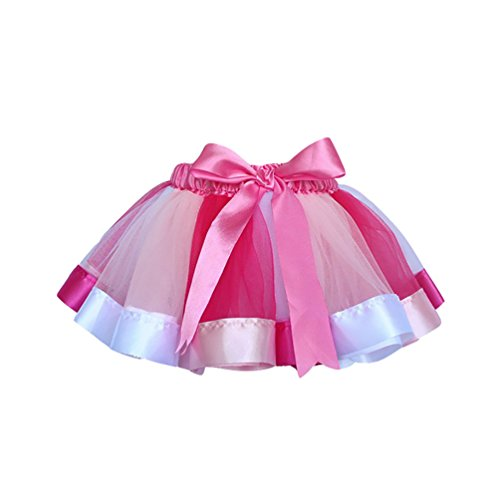 NiSeng Mädchen Layered Regenbogen Ballettröckchen Bowknot Tutu Ballettrock Tanzkleid Tüllrock Tütü Minirock L
