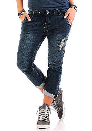 Urban Surface Damen 3/4 Jogg Jeans LUS-095 Boyfriend Hose Area destroyed dark blue2 M