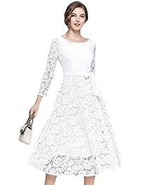 YiLianDa Donna Vestiti in Pizzo Eleganti da Cerimonia Abito Vintage Abiti  Moda per Partito Sera fb0fd4bd59a