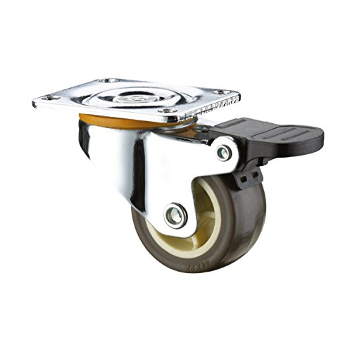 SUPO 38mm Derlin Bush Bearing Thermo Plastic Rubber Swivel Plate + Brake Caster Wheel  available at amazon for Rs.115