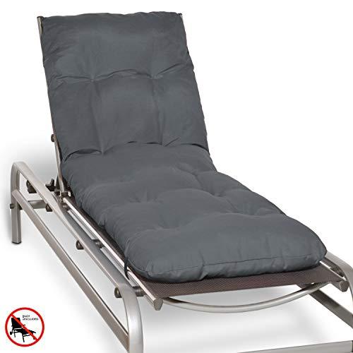 Beautissu Auflage für Garten-Liege Flair RL 190x60x8cm Sitz-Polster für Sonnenliege Schaumflocken-Füllung Graphit-Grau in verschiedenen Farben erhältlich