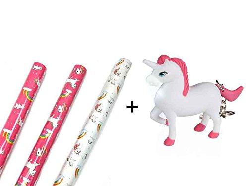 3 Rollen Einhorn Geschenkpapier und Schlüsselanhänger - Geburtstagspapier Geschenkverpackung
