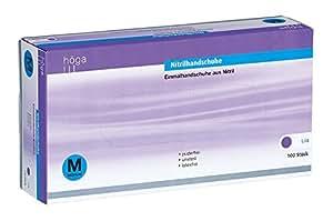 Höga Pharm Nitrilhandschuhe lila, medium, puderfrei, unsteril, 1er Pack (1 x 100 Stück)