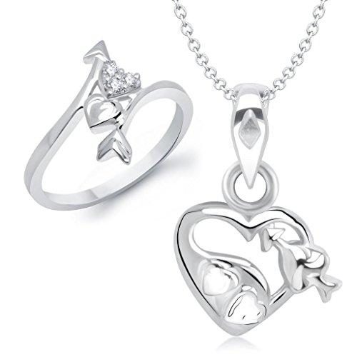 VK-Jewels-Cupids-Arrow-in-Heart-Shape-Combo-Ring-Pendant-COMBO1060R-VKCOMBO1060R
