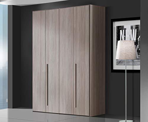 Zucca mobili armadio semplice h. 245 cm da 4 a 6 ante - made in italy (4 ante l.163,4 cm), olmo frida