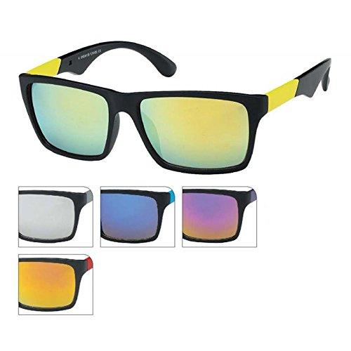 Sonnenbrille schwarz bunt verspiegelt Unisex Nerd Brille Bügel 400 UV Wayfarer rot