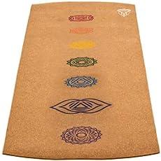 JURU Chakra Cork Yoga Mat, 3mm, 7 Chakra Print with Mat Sling