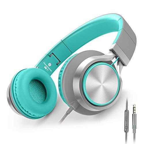 Kopfhörer, AILIHEN C8 Kopfhörer mit Mikrofon und Lautstärkeregler Faltbar Kopfhoerer On-Ear für iPhone Android Smartphones PC Laptop Mac Mp3/mp4 (Grau/Mint) - Ihr Geld Nehmen Frauen