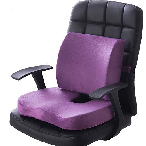 HUSHION Steißbein Seat Kissen Orthopädischen Memory Foam und Lumbar Support Kissen, Satz von 2, Lendenwirbelsäule Kissen für Low Back Support, Tailbone Schmerzen, Sciatica Relief,Purple,Velvet -