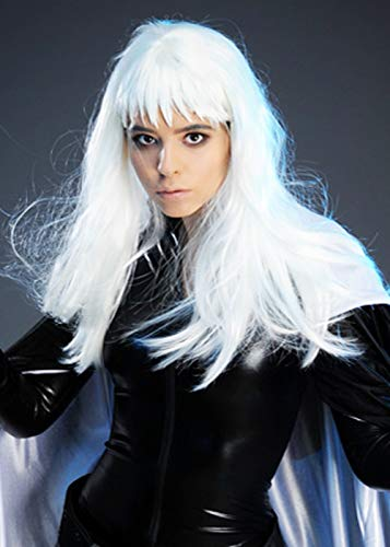 Storm Kostüm Perücke - Magic Box Int. Womens Storm Style Weiße Perücke mit spitzer Franse