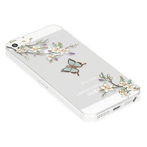 iPhone SE 5 5S Coque Protection de NICA, Housse Motif Silicone Portable Premium Case Cover Transparente, Ultra-Fine Souple Gel Bumper Etui pour Apple iPhone 5 5S SE Smartphone - Little Cats Butterfly