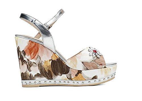 Beauqueen Cinturini alla caviglia sandali della piattaforma cuneo peep-toe donne semplici casuale del lavoro Beach sandali Europa formato 34-39 White