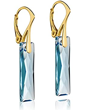 vergoldet 925Sterling Silber und Aquamarin Blau Baguette Swarovski Elements Kristall Drop Ohrringe