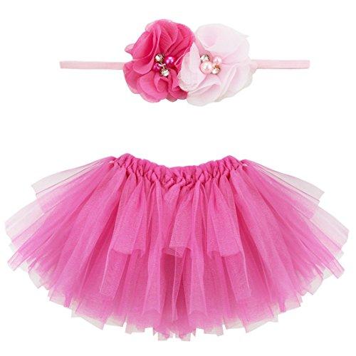 YiZYiF Fotos Fotografie Prop Baby Mädchen Kostüm Süßer Prinzessin Kleid Tüllkleid mit Kopfband Festzug Kleidung (2tlg. ()