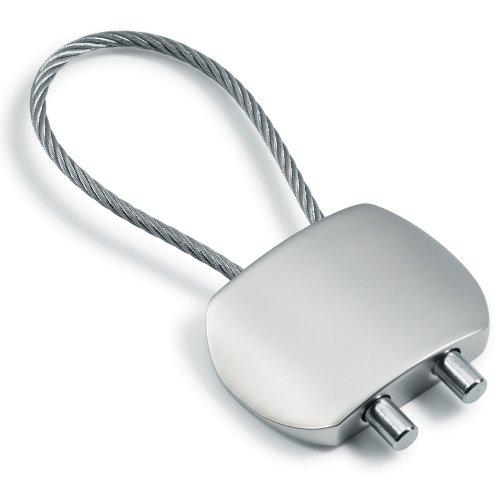Porte-clefs rectangulaire arrondi, mat, avec boucle en câble