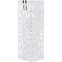 SONGMICS Paragüero Soporte de Paragüas con Gancho Plato de plástico 49 x 15,5 x 15,5 cm Blanco, Cuadrado LUC48W