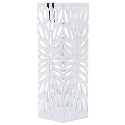 SONGMICS Regenschirmständer aus Metall, quadratischer Schirmständer, Wasserauffangschale herausnehmbar, mit Haken, 15,5 x 15,5 x 49 cm, weiß LUC48W