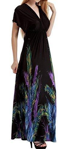 Feoya Damen Kleid Blumenmuster Feder Drucken Sommerkleid mit hoher Taille Ärmellos Kleider mit V-Ausschnitt Maxikleider Bohemian Strandkleid asiatische Größe XL - Schwarz