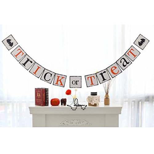Treat Or Dekorationen Trick (Gazechimp Trick or Treat Papier Garland Dekobanner Girlande Bunting Halloween)