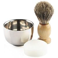 Anbbas Kit de rasage avec blaireau rasoir Gillette Mach 3 et support (c)