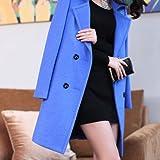 Xuanku Meine Damen Mantel Woolen Coat Slim Langer Wollmantel Mädchen, M, Königsblau