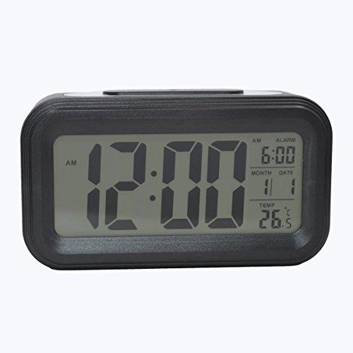 COOJA Reloj Despertador Digital con Sonido Fuerte, Alarma Despertador a Pilas con Numeros Grandes Snooze Luz Temperatura 12/24H, Despertadores de Viaje para Infantil Juvenil Niña (Negro)