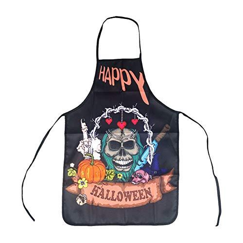 Ouken Halloween-Schürze Lustige Kreative Schürzen Halloween Cosplay Partei-Kostüm für Küchenchef (Skelett, 1Pc)