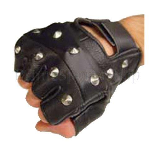 Real Leather Black Studded Fingerless Biker Punk Gloves